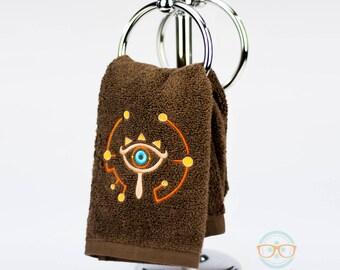 Legend of Zelda Hand Towel - Breath of the Wild - Sheikah Slate - Embroidered Geeky Bathroom Towel or Kitchen Decor