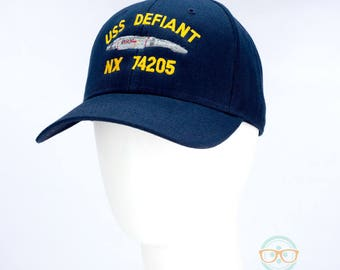Star Trek Hat - Deep Space 9 DS9 - USS Defiant - Embroidered Geeky Baseball Cap - Naval Hat Inspired