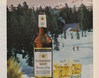 1976 Advertisement Canadian Mist Canadian Whisky Winter Snow Retro Vintage Wall Art Decor Pub Decor Bar Decor Christmas