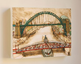 Tyne Bridge Canvas, Newcastle Upon Tyne, North East England, Signed Box Canvas Print, Gateshead Wall Art, Drypoint Print by Clare Caulfield