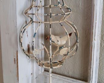 vtg metal wire birdcage hook wall picture SHABBY chippy finish hanger key holder towel bar