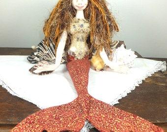 Art Doll-Chelsea the Mermaid OOAK Cloth Doll