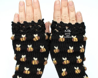 Bees On The Gloves, Black Gloves With Bees, Hand Knitted Fingerless Gloves, Embroidered Gloves, Mitts, Gloves & Mittens, Anniversary Gift