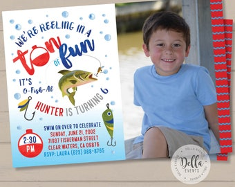 Fishing invite, Fishing invitation, Fishing Birthday Invitation, Watercolor Fishing Invitation, Gone Fishing, O-Fish-Ally, Fishing Party