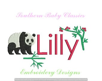 Panda Bear Bamboo Berry Design File for Embroidery Machine Monogram Add On Instant Download Cute Baby Girl Boy