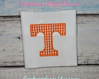 Applique T Tennessee Vol Vols Design File for Embroidery Machine Monogram Applique Instant Download Football