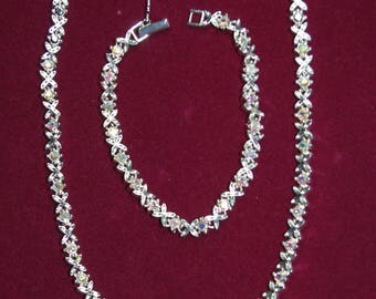 Jackie Kennedy Necklace SET - Platinum Plated with Aurora Borealis Stones,  Box and Certificate