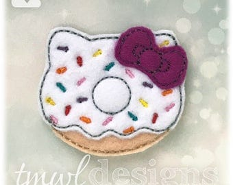 Kitty Doughnut Donut Feltie Digital Design File - 1.75""