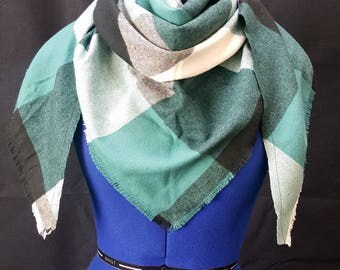 Teal B/W kercheif scarf