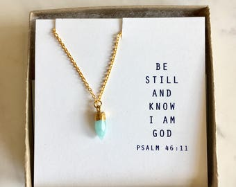 Amazonite Mini Pendant neckace.  Book quote or custom quote.  Gifts for her, encouragement gift, A A Milne, Psalm 46 11, Proverbs 31:25