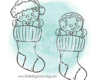 Gingerbread Cookies in Christmas Stockings, Digital Stamp, Christmas Stamps