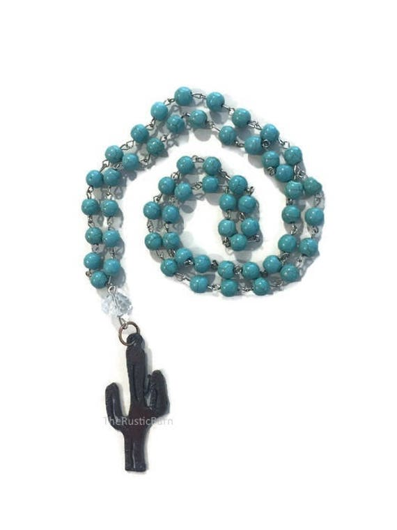 CACTUS necklace with Turquoise color beads metal charm made of Rustic Rusty Rusted Recycled Metal