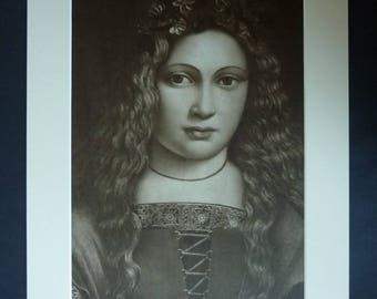 Vintage Matted Sepia Italian Renaissance Portrait Print of a Young Girl by Lombard School Artist Giovanni Antonio Boltraffio