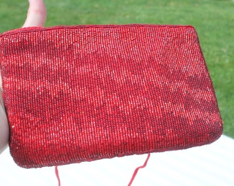 Red Beaded Evening Bag / Purse by Carla Marchi - Formal - Prom - Wedding - Jeans Purse
