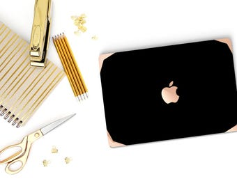 Simply Black Macbook Case with Rose Gold Edge Detailing Hard Case for Apple Macbook Air 13 , Macbook Pro 13 Touch - Platinum Edition