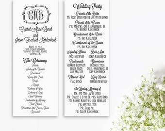 Printed Wedding Programs // Monogram wedding program
