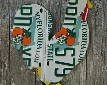 Upcycled Florida License Plate Rooster Chicken Wall Art/Coop Decor