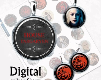 Game of Thrones House of Targaryen Digital Collage Sheet  1,5 inch, 1 inch, 15 mm Jewelry Supplies, Bottle Caps, Crafts, Scrapbooking