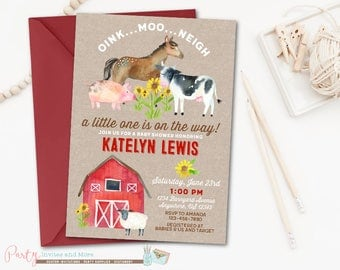 Farm Baby Shower Invitation, Farm Invitation, Farm Animals Baby Shower Invitation, Farm Animals Invitation, Barnyard Baby Shower Invitation