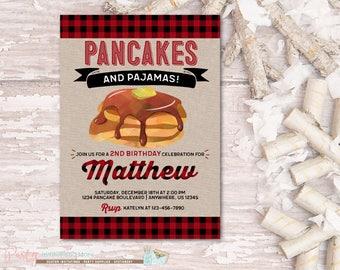 Pancakes and Pajamas Invitation, Pancakes and Pajamas Birthday Invitation, Boy Birthday Invitation, Buffalo Plaid Invitation, Pancakes Party
