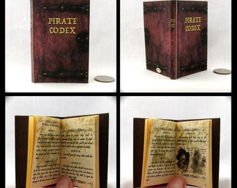 The PIRATE CODEX Illustrated Readable Book in 1:3 Scale Book AG Caribbean Jack Sparrow Pirate Lord Code Conduct Governing Pirates Brethren