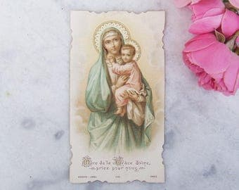 Vintage French Holy Card, Religious Card, Holy Mary Mother of God, Mary and Jesus, Holy Child