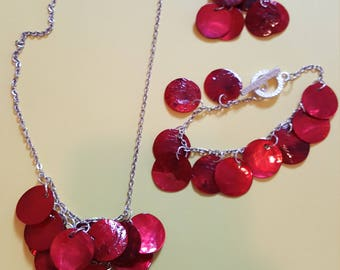 Red Mother Of Pearl Flat Chip Necklace Bracelet Earring Set Silver Plated Chain