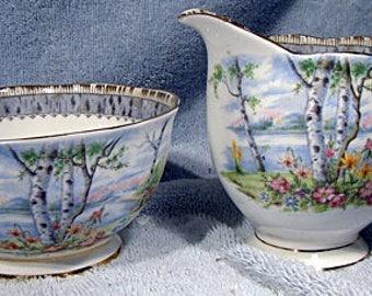 Royal Albert Silver Birch Large Creamer and Sugar Bowl