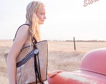 Bucket Purse- Cowhide & Cowboy Boots