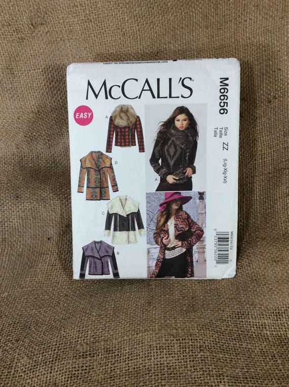 McCalls M6656, McCalls sewing pattern from 2012, unlined jackets and coats, uncut sewing pattern from McCalls, make your own jacket