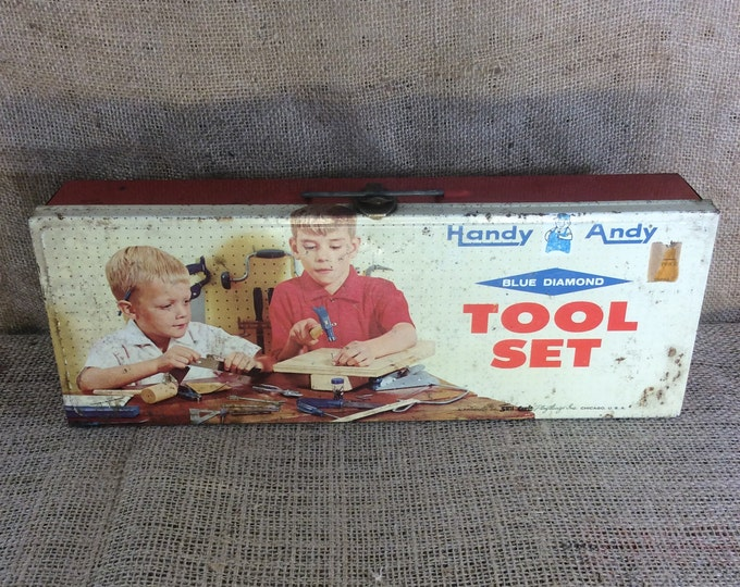 Vintage Handy Andy childrens tool box, 1950's Handy Andy tin tool box, mid century toy, Handy Andy Blue Diamond, vintage collectibles