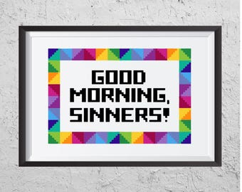Good Morning, Sinners! - Modern Cross Stitch PDF - Instant Download