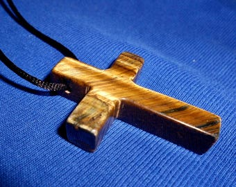Golden TIGER EYE CROSS Pendant*31 Inch Black Satin Cord Included
