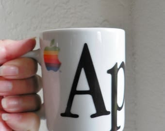 Apple Computer Mug Cup Vintage Original 80's Rainbow
