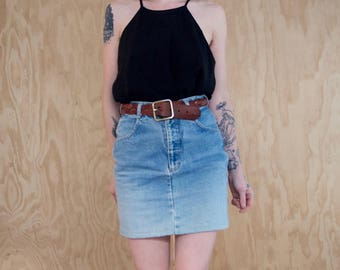 Denim Pencil Skirt Vintage 90's Pockets Ombre Acid Wash Small Mini Skirt