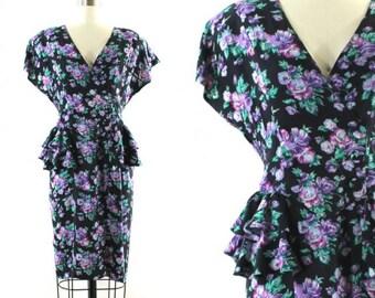1980s floral print dress • 1980s peplum dress • purple flowered dress • spring wiggle dress • double breasted dress • V neck dress