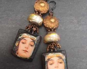 Ancient Princess, Artisan Ceramic Tiles, Upcycled Brass Beads, Artisan Lampwork, Art Jewelry, Mucha Art