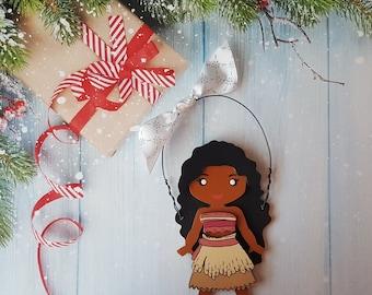 Moana Christmas Ornament, Disney Princess, Elsa, Anna, Cinderella, Rapunzel, Jasmine, Snow White, Belle, Aurora, Tiana, Ariel, Merida, Mulan