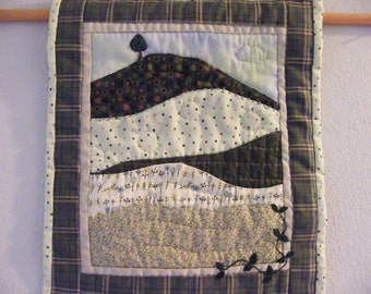 Quilted Wall Hanging, Landscape Quilt, Hand Quilted, Hand Embroidered