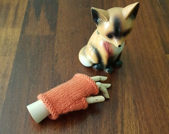 Boys gloves - boys fingerless gloves - warm wool boy mittens - kids fingerless - childs gloves - orange boys wool hand warmer - gift for boy
