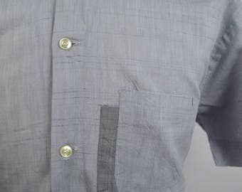 Vintage 1950s Light Blueish Grey Shirt w/ 2 Tone Pocket Detail by Manhattan Size Large