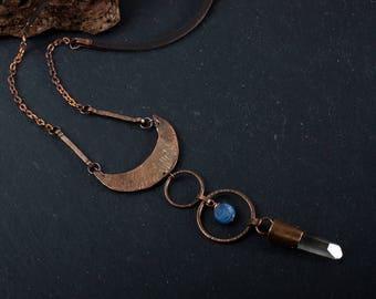 Copper necklace: Smoky quartz pendant - Crescent necklace - Long pendant necklace - Quartz crystal pendant - Elven necklace -Rustic necklace