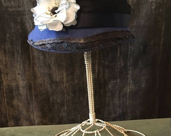Blue Felt Cloche, SOLD**** Felt Hat, Blue Hat, Blue Cloche with Flower, Hand Blocked Hat, Cloche