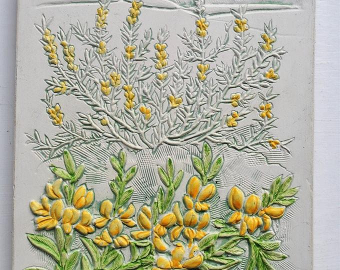 Jie Gantofta Swedish Ceramic Wall Tile Gold Flash Mid Century Signed