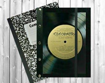 Vinyl Record Art, Cleopatra Vinyl Record book cover, Theater journal, Journal Cover, Vinyl Record notebook, Music gift, J285