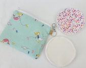 Reusable nursing pads mermaid print cute zipper pouch. breastfeeding pads set. reusable wipes. small makeup pouch