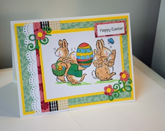 Easter Joy Handmade Greeting Card - Bunnies and Easter Eggs with 3D Embellishment
