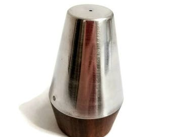 Chrome and Wood Mid Century Modern Salt or Pepper Shaker Single Replacement