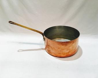 Vintage copper sauce pan, Copper pot, Copper cooking pot, French copper, Hanging copper pot, Brass handle, Rustic farmhouse
