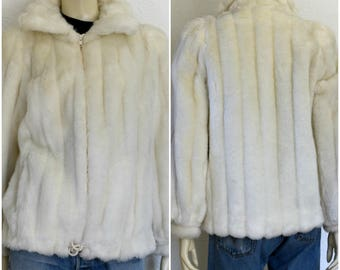 White faux fur coat / alpaca fur coat / llama fur coat /